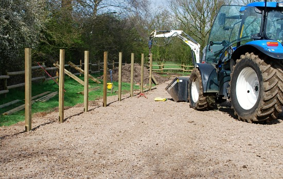 Arena Construction Fence Posts (www.Basic-Horse-Care.com)
